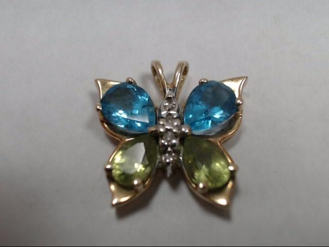 Synthetic Blue Topaz Gold-Diamond & Stone Pendant 4 Diamonds .04 Carat T.W.