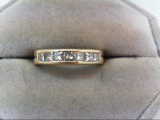 Lady's Diamond Wedding Band 7 Diamonds 1.05 Carat T.W. 14K Yellow Gold 4.5g