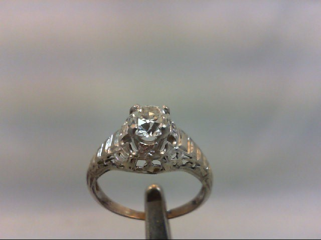 Lady's Diamond Solitaire Ring .75 CT. 18K White Gold 2.55g