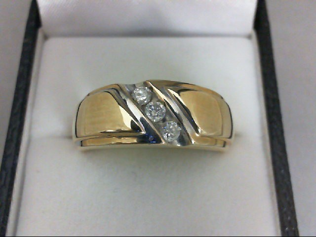 Gent's Gold-Diamond Wedding Band 3 Diamonds 0.24 Carat T.W. 10K Yellow Gold 6.2g