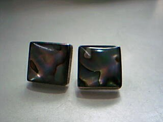 Synthetic Mother Of Pearl Silver-Stone Earrings 925 Silver 12.7g