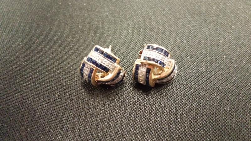 14K_Y/G_RIBBON Gold Earrings SAPPHIRE_EARRINGS 14K Yellow Gold 2.4dwt