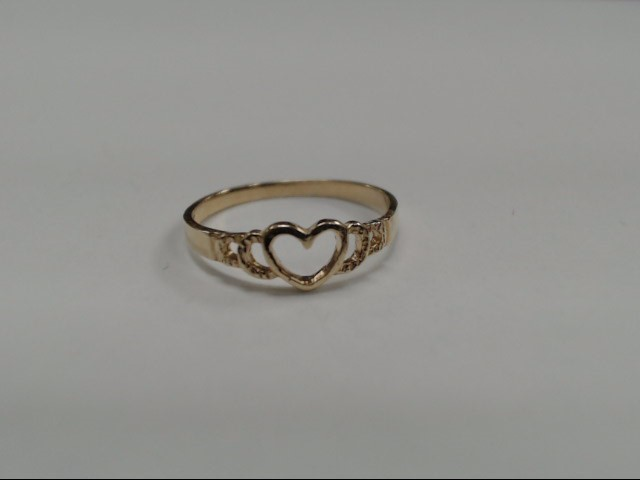 14K HEART SHAPED GOLD PINKY RING Size:4