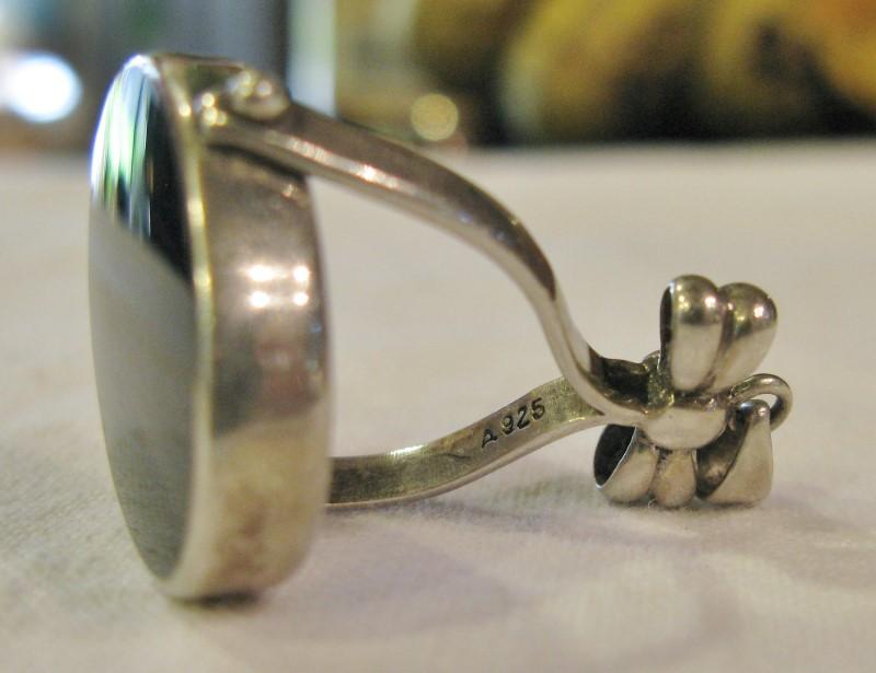Flip Mirror Pendant Onyx - Mother of Pearl Pendant 925 Silver 6.8dwt
