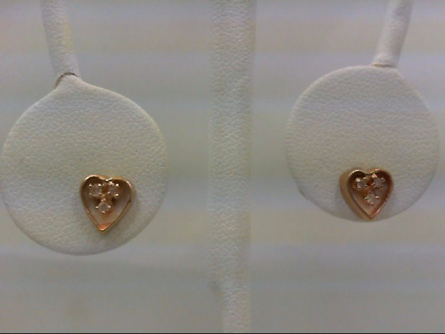 Gold-Diamond Earrings 6 Diamonds 0.06 Carat T.W. 14K Yellow Gold 1.1g