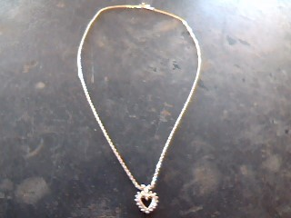 Diamond Necklace 16 Diamonds .32 Carat T.W. 14K Yellow Gold 3.7dwt