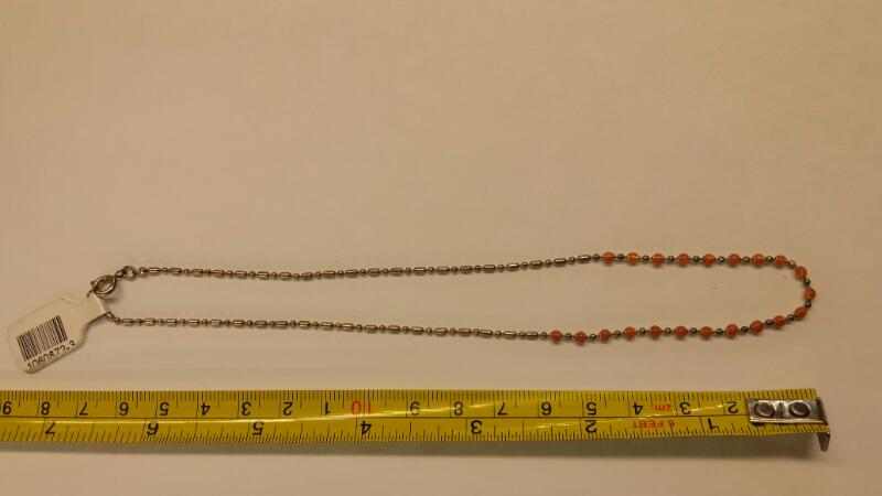 NECKLACE JEWELRY JEWELRY, 925; ORANGE BEADS AND STERLING BEADS