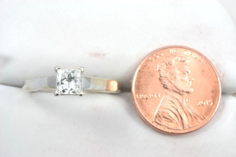 ESTATE DIAMOND RING SOLID 14K WHITE GOLD ENGAGEMENT PRINCESS SZ 8.25