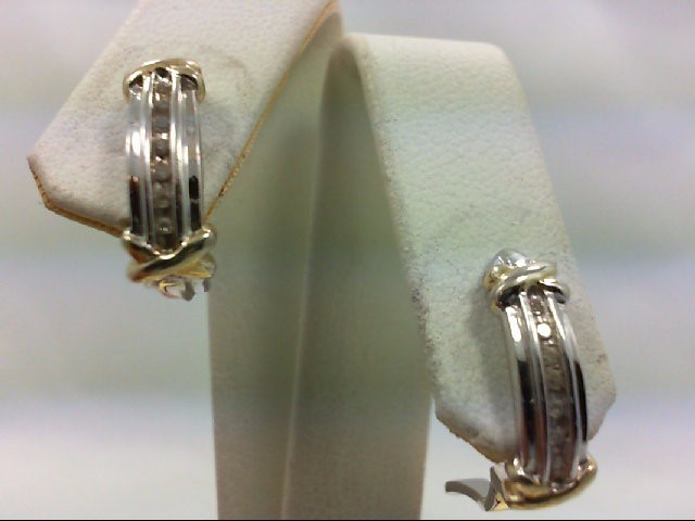 Silver-Diamond Earrings 14 Diamonds .14 Carat T.W. 925 Silver 4.6g