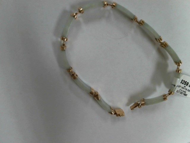 Synthetic Jade Gold-Stone Bracelet 10K Yellow Gold 3dwt