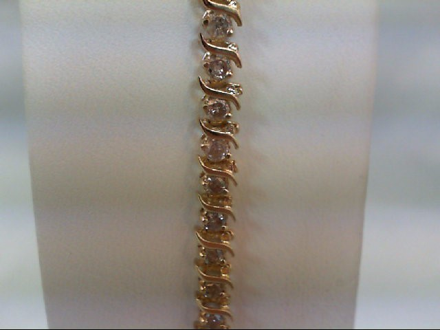 Gold-Diamond Bracelet 44 Diamonds 3.08 Carat T.W. 14K Yellow Gold 8.9g
