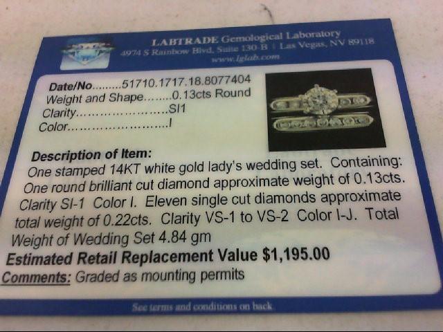 Lady's Diamond Wedding Set 12 Diamonds 0.35 Carat T.W. 14K White Gold 4.8g