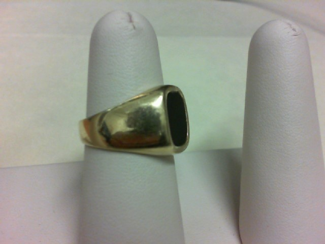 Black Stone Gent's Stone Ring 14K Yellow Gold 9.9g Size:7.5