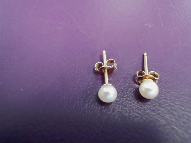 Pearl Gold-Stone Earrings 14K Yellow Gold 0.4g