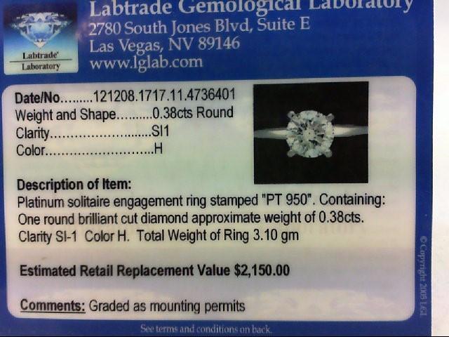 Lady's Platinum-Diamond Solitaire .38 CT. 950 Platinum 3.1g