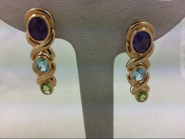 Amethyst Gold-Stone Earrings 14K Yellow Gold 10.8g