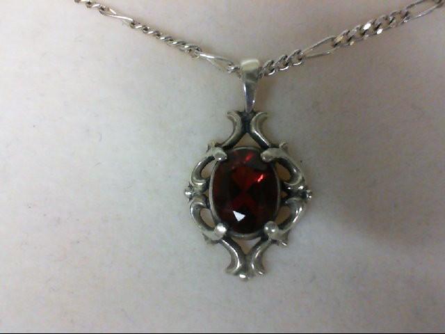 Almandite Garnet Silver-Stone Pendant 925 Silver 5.7g