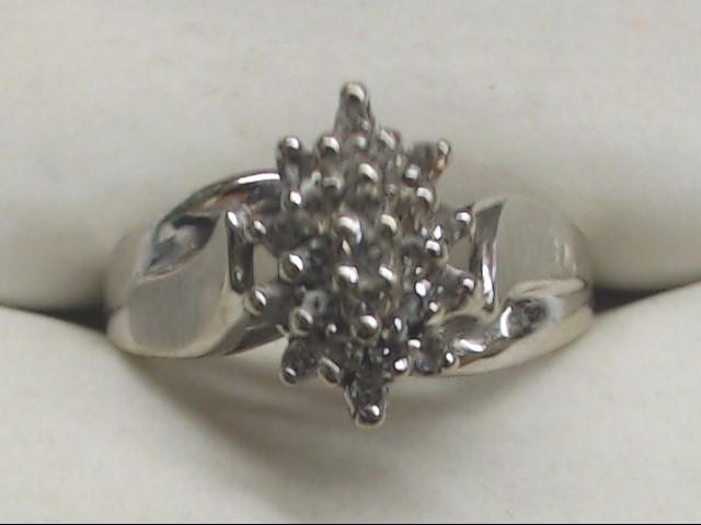 Lady's Diamond Cluster Ring 23 Diamonds .23 Carat T.W. 10K White Gold 3.2g