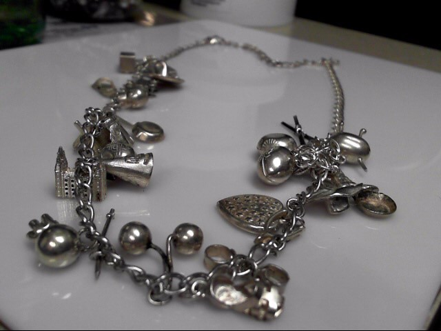 """Vintage Circa 1950's Multi Charm Necklace Sterling Silver .925 28"""""""