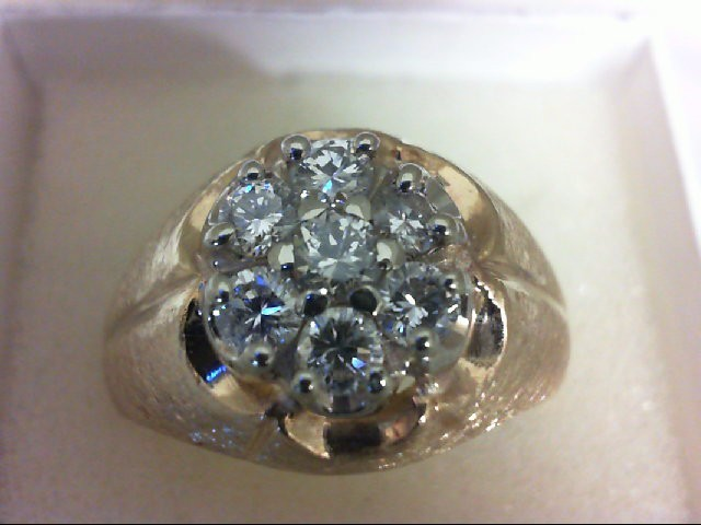 Gent's Diamond Cluster Ring 7 Diamonds 1.00 Carat T.W. 14K Yellow Gold 7.91g