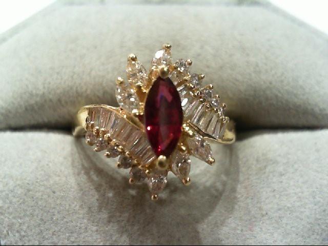 Ruby Lady's Stone & Diamond Ring 32 Diamonds .90Carat T.W. 14K Yellow Gold