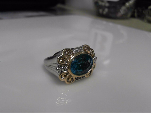 Blue Topaz Sterling Silver Ring 925 12.6