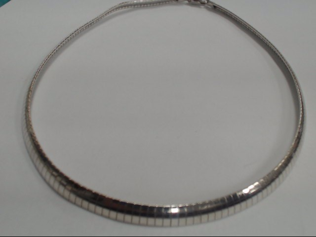 "17"" STERLING SILVER OMEGA CHAIN, WITH 24-GRAM WEIGHT."