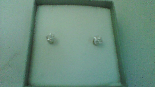 Gold-Diamond Earrings 2 Diamonds .71 Carat T.W. 14K White Gold 0.07g