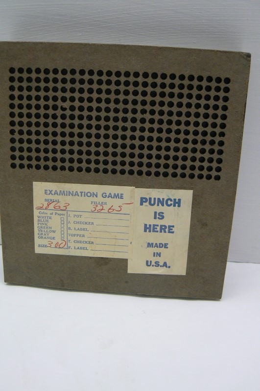 VINTAGE KUTER KOLORS $.25 PUNCH BOARD NEVER USED