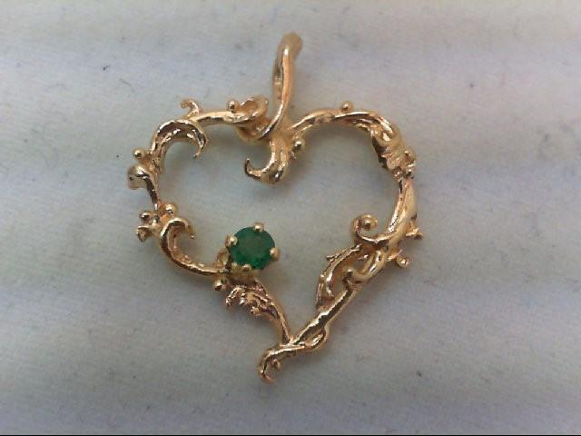 Emerald Gold-Stone Pendant 14K Yellow Gold 1.4g