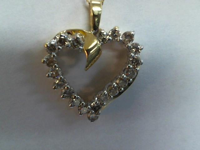 Diamond Necklace 20 Diamonds .60 Carat T.W. 14K Yellow Gold 3.5g