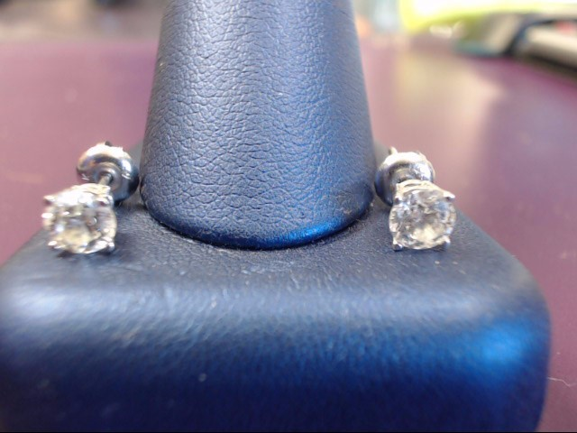 Gold-Diamond Earrings 2 Diamonds 1.00 Carat T.W. 14K White Gold 0.9g