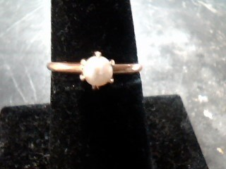 Synthetic Pearl Lady's Stone Ring 14K Yellow Gold 1.4dwt