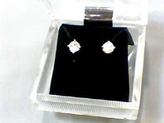 Gold-Diamond Earrings 2 Diamonds .44 Carat T.W. 14K Yellow Gold 0.5dwt