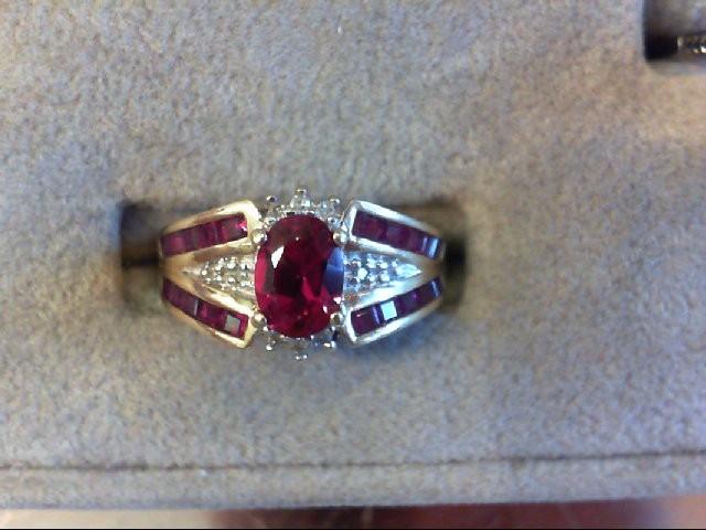 Red Stone Lady's Stone & Diamond Ring 10 Diamonds .16 Carat T.W.