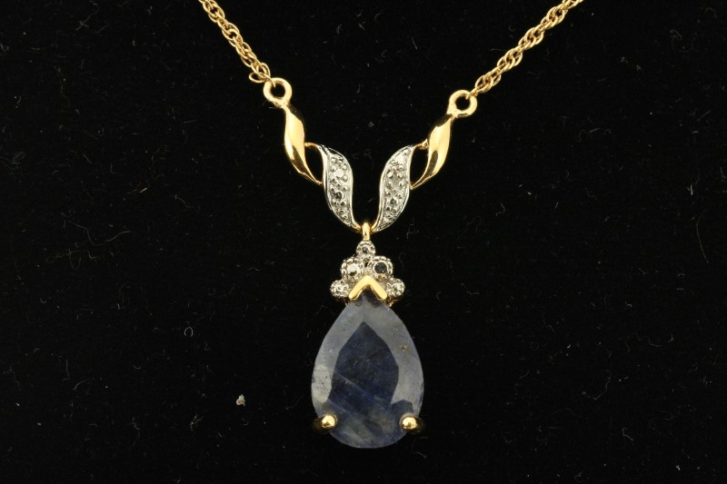 """17"""" Blue Stone Stone Necklace 925 Silver 5.76g"""