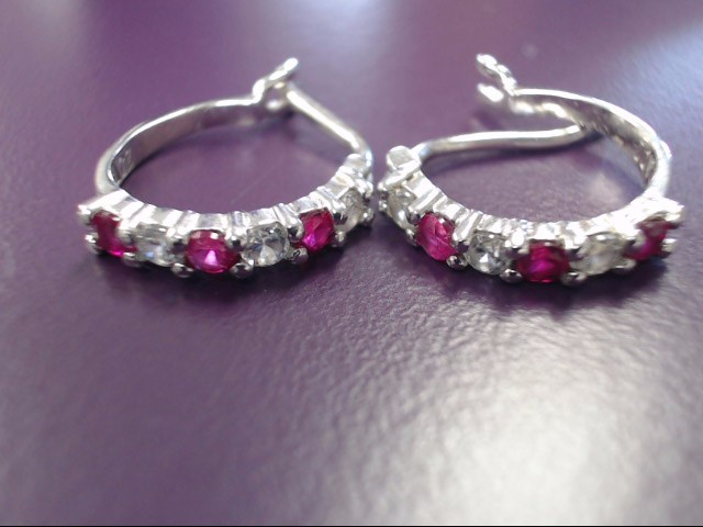 Synthetic Pink Stone Silver-Stone Earrings 925 Silver 2.63g