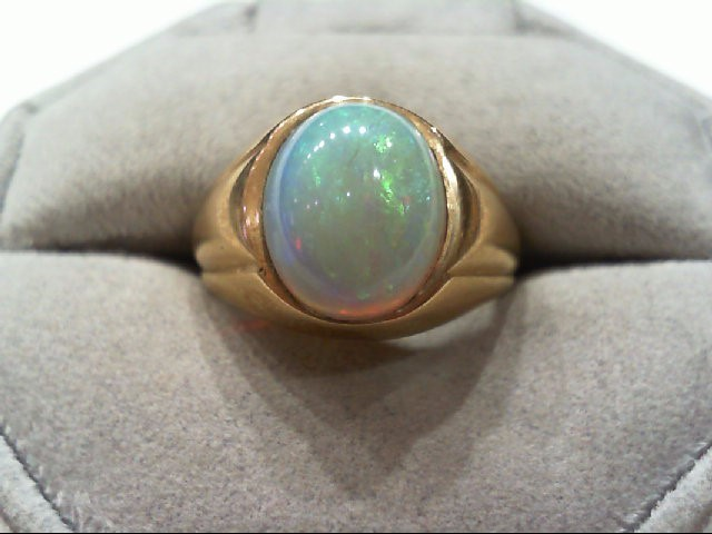 Opal Gent's Stone Ring 10K Yellow Gold 6.4g
