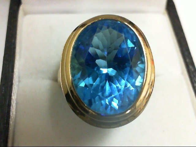Blue Topaz Lady's Stone Ring 14K Yellow Gold 6.4g
