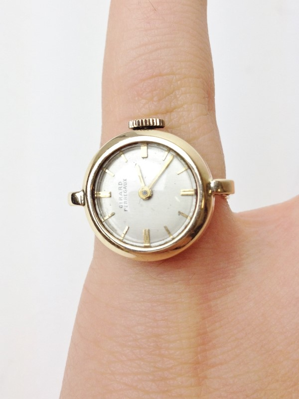 Girard Perregaux 14kt Ring Watch Vintage Circa 1970's Size 4