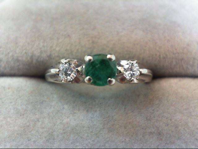 Emerald Lady's Gold Ring 2 Diamonds .14 Carat T.W. 14K White Gold 2.2g