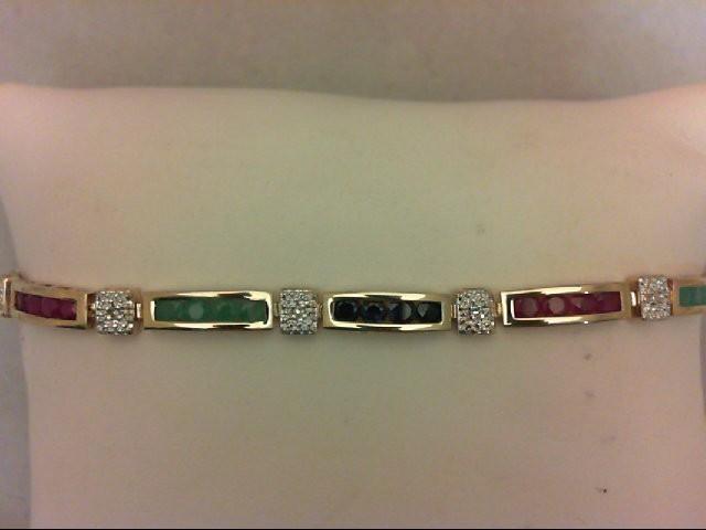 Ruby Gold-Diamond & Stone Bracelet 9 Diamonds 0.09 Carat T.W. 10K Yellow Gold 6.