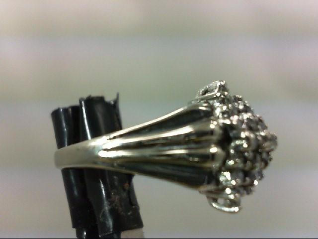 Lady's Diamond Cluster Ring 23 Diamonds .24 Carat T.W. 10K White Gold 3.2g