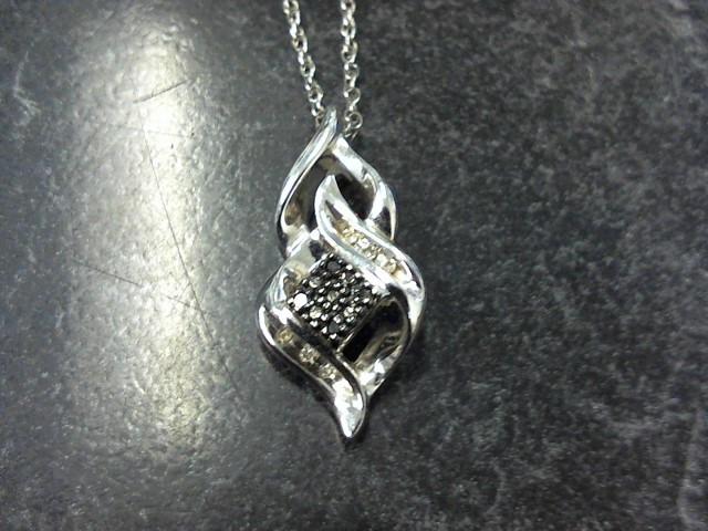 Diamond Necklace 10 Diamonds .050 Carat T.W. 925 Silver 4g