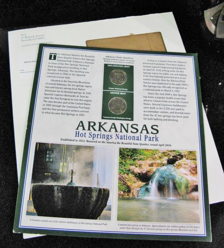 Arkansas NPS Hot Springs Nat'l Park State Quarters Panel & Postage Stamps