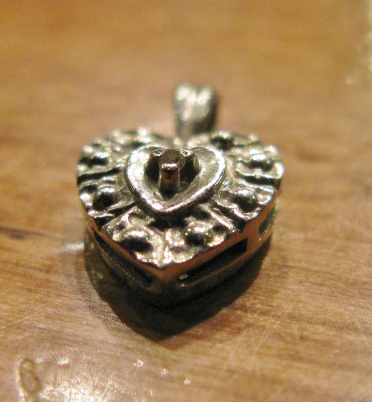 """Gold HEART Pendant 10K White Gold 0.4dwt, 1/2"""" X 5/16"""", DAINTY"""