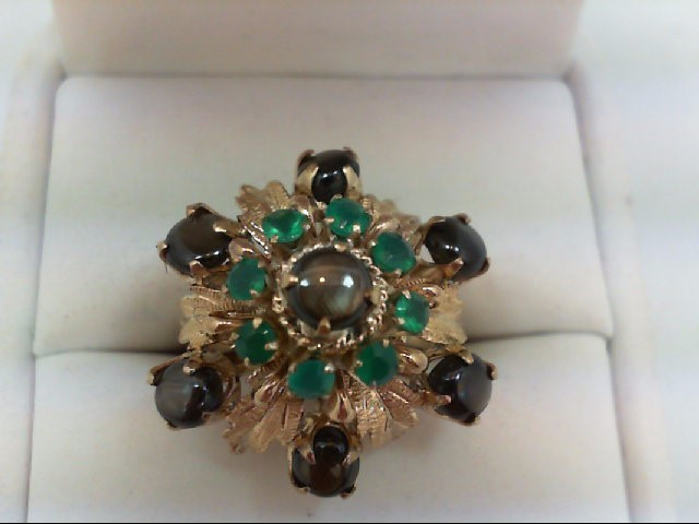 Synthetic Black Star Sapphire Lady's Stone Ring 14K Yellow Gold 6.1g