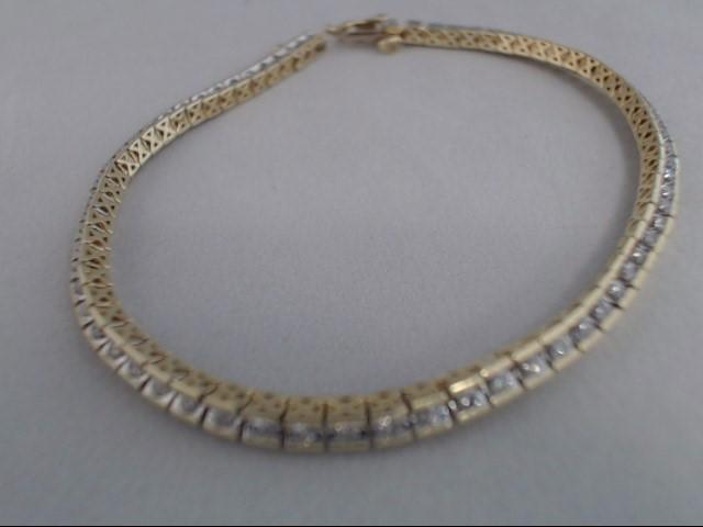 Gold-Diamond Bracelet 68 Diamonds 1.36 Carat T.W. 10K Yellow Gold 7.9g