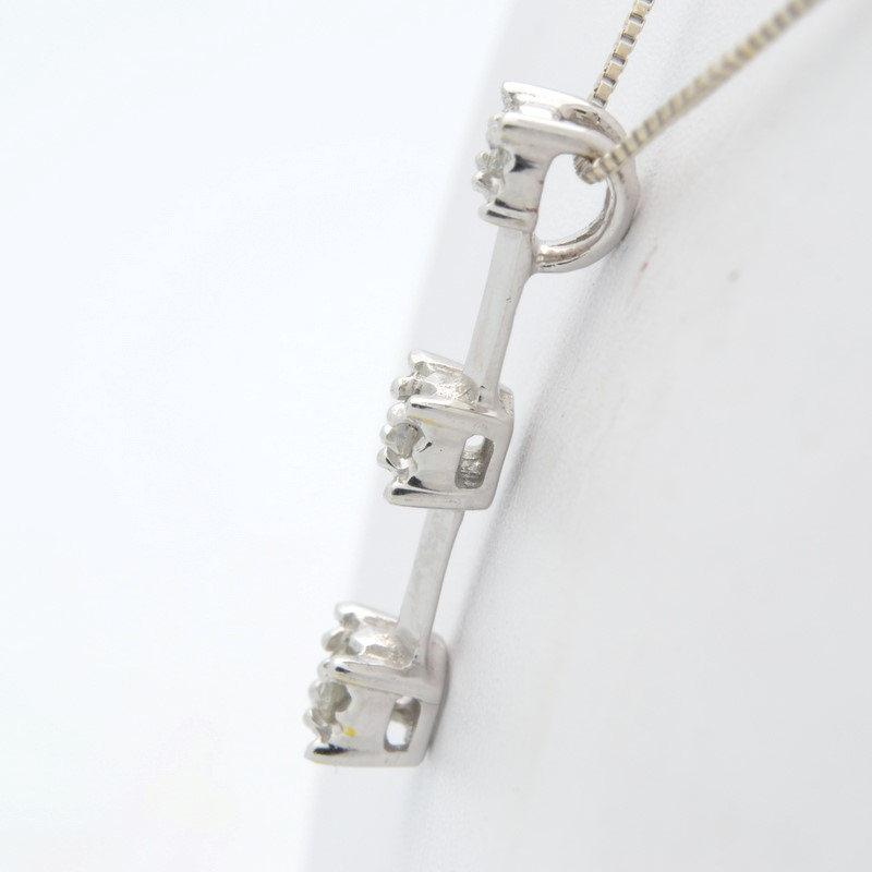 VINTAGE 3 DIAMOND PENDANT SOLID 10K WHITE GOLD PAST PRESENT FUTURE