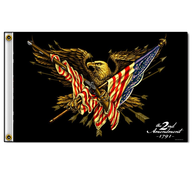 FGA1058, 2ND AMENDMENT EAGLE FLAG, 3 BY 5 FEET, FEATURES BRIGHT, ORIGINAL ARTWOR